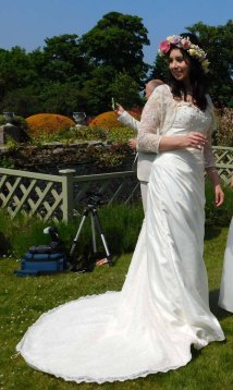Upcycled wedding gown with Phia Ecouture lace shrug
