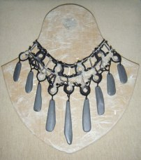 Crochet necklace made from hand dyed raw silk, recycled beads and sea smoothed Welsh slate