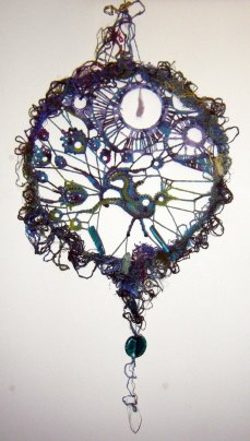 Hand dyed raw and spaghetti silk wall-hanging with recycled beads