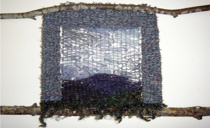Winter vista - woven from hand dyed yarn and wool remnants