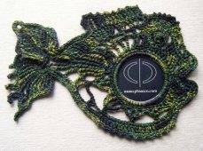 Raw silk crochet fish motif