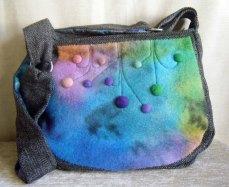 Organic Hebridean Tweed and merino felt applique shoulder bag