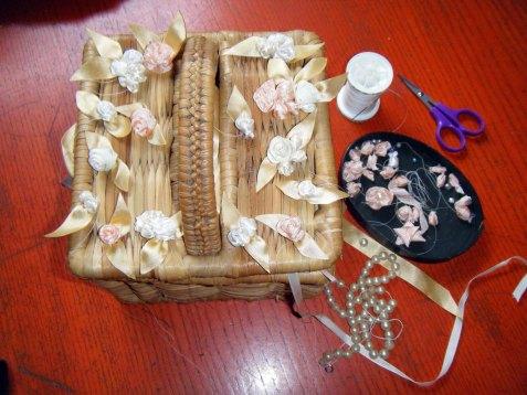 Silk ribbon and pearl roses