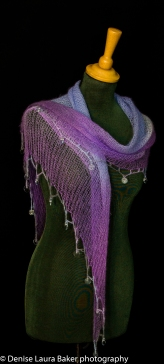 Fine shawl. Knitted and hand dyed with beaded crochet trim. Angora/wool mohair