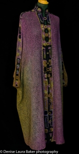 """Egyptian"" Cardigan. Knitted and hand dyed with crochet detail and buttons. Pure wool."
