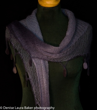 Fine shawl. Knitted and hand dyed with beaded and Welsh slate crochet trim. Angora/wool mohair