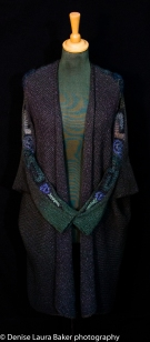 Drape cardigan. Knitted and hand dyed with crochet detail. Silk/wool blend.