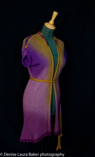 Drape cardigan. Knitted and hand dyed with crochet detail. Pure wool.