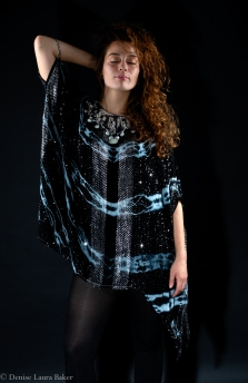 Tie Dye Kaftan with crochet silk beaded collar